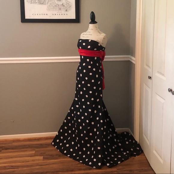 Jovani Dresses & Skirts - JOVANI BLACK WHITE POLKA DOT STRAPLESS BALL GOWN